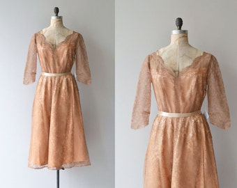 Donizetti lace dress | vintage 1950s dress | eyelash lace 50s party dress