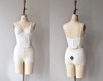 Talc lingerie set | vintage lace bustier | vintage wedding lingerie