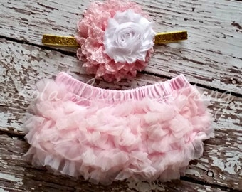 Light Pink Baby Bloomers Pink Gold White Headband Set Take Home Outfit Newborn Photography Prop Lola Bean Clothing Cake Smash