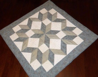 Quilted Table Runner, Wall Hanging, Blue Carpenter Wheel, Square Table Topper, 29x29 Inches, Machine Quilted