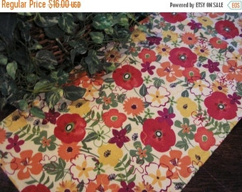 BEACH SALE Table Runner Floral Mix Orange Rust Yellow Padded