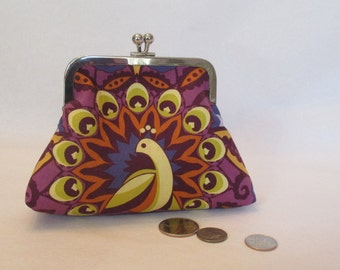 Purple Coin Purse , Kiss Lock Coin Purse , Earbud Case