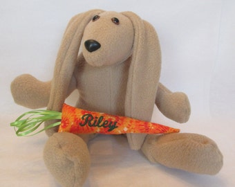 Personalized Easter Bunny , Brown Stuffed Bunny , Bunny With Carrot