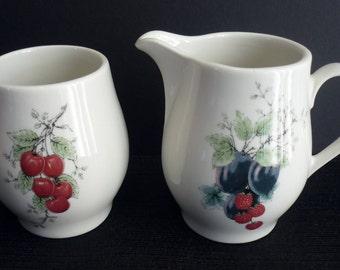 Vintage Syracuse China Wayside Sugar Bowl Creamer Set Fruit Design Carefree Grape Raspberry Cherry