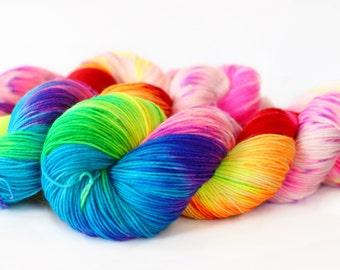 Rainbow Unicorn 463 yards on 'Posh' Sock Fingering Yarn/ 4 ply merino yarn, handpainted sprinkle