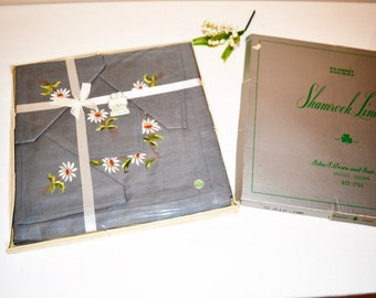 Tablecloth Charcoal Gray with Flowers Irish Linens with Napkins