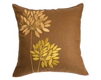 Gold Flower Decorative Pillow Cover, Russet Brown linen Flowers Embroidery, Cushion Cover, Floral toss pillow, Modern home decor