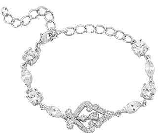 Crystal wedding bracelet Vintage style wedding Art Deco bracelet silver bridal bracelet Art Deco