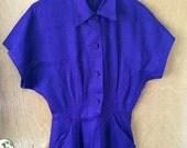 Royal Purple - 1940's Moygashel Purple Linen Day Dress