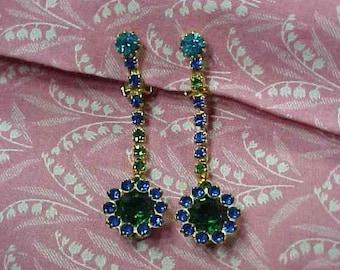 Vintage Blue Green Rhinestone Flower Drop Dangle Clip on Earrings