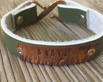 Handmade green leather bracelet with copper plate hand stamped with your brave- gift for her copper plated pewter clasp