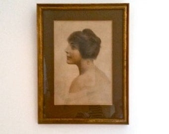 Antique Portrait Print, muted hues, 1920's