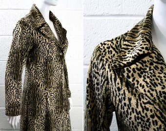 Soft Velour Plush Lightweight Vintage Animal Print Cheetah Print Maxi Coat Jacket 70's Woman's Size MEDIUM