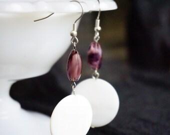 White and purple drop earrings