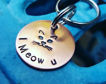 Cat face Keychain, I Meow U, Catlover Keychain, Cat face, Cat lover gift, Copper Keychain, Cat keychain