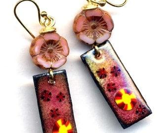 Enamel Floral Earrings, 18 K Gold Filled Earrings, Pink Peach Cooper Earrings, Unique Enamel Jewelry, Unique enamel Jewelry by AnnaArt72