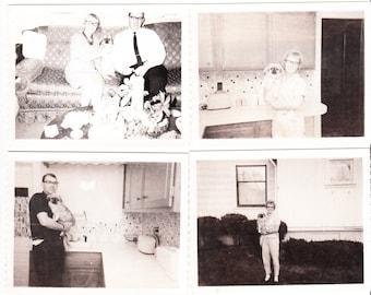 lot 7 Vintage Photos Cat Eye Glasses Woman Pekingese Dog Home Decor Polaroid snapshots