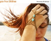 CLEARANCE SALE Hand Chain Bracelet  Hipster Bronze Chain Bohemian Two Turquoise Bead Two Triangle Two Ring Hand Jewelry Piece BRVeraTQ