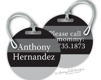 SKATER BOY Round premium bag tags - 4 inch - click on image to enlarge - seen in Parents magazine and Family Fun magazine