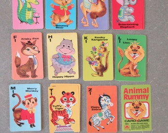 Vintage Animal Rummy Game, Animal Cards, Children's Card Game, Cute Kawaii Zakka, 1970s Card Deck, Vintage Craft Supply, Circus Cards