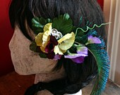 Chartreuse and Plum Purple Hair Clip Fascinator - Wedding, ATS, Tribal, Fusion, Belly Dance, Pin Up, Renaissance Festival