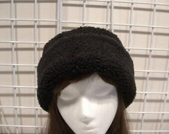 Adult Sherpa PILLBOX Hat, rich black Minky Sherpa Cuddle hat, Women's Winter Hat