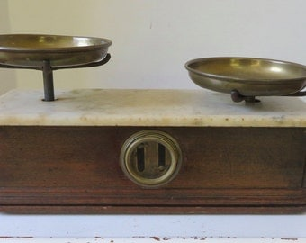 Antique Early 1900's Marble/Mahogany Pharmaceutical  Drug Store Scale