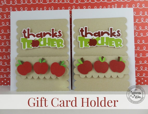 3 Apple Thanks Teacher Gift Card Holders /Teacher Appreciation  / Teacher Appreciation Gift Ideas / Gift Cards /Teacher present