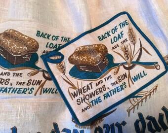 vintage 1960's apron // matching potholder // 60's kitchen linen set NOS