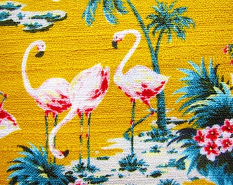Animal Print Fabric - Japanese Fabric Textured Cotton - Flamingos on Orange Yellow - Fat Quarter