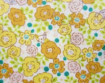 Animal Print Fabric - Roses and Cats in Yellow - Floral Fabric -  Half Yard