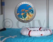 Porthole School of Fish vinyl wall lettering kids room decor boat ocean theme wall decal self adhesive sticker