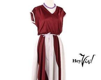 ON SALE 1970s Burgundy Wine Disco Dress - Good Times Vintage Cranberry Swirl Stripe - size Medium