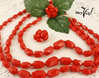 1950s 1960s Red Geometric Jewelry Set - Vintage Chunky Facet Bead MultiStrand Necklace & Clip On Cluster Earrings Demi Parure - West Germany