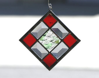 WINTERBERRY-Abstract Stained Glass Suncatcher, Sun Catcher, Stain Glass, Holiday Gift, Christmas, Red, Green, Clear Bevels, Ready to Ship