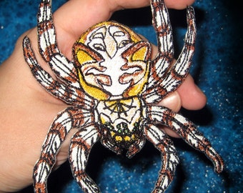 Cat faced Orb Weaver Spider  Iron on Patch