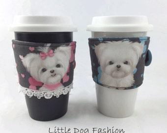 Coffee Cup Sleeve, Coffee Cozy, Coffee lover Gift, Coffee Accessories, Coffee Cup Cozies, Reusable Coffee Cozy, Maltese Dog