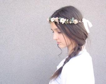 Ready to Ship Graceful Garden Flower Crown, Peach, Blush, Neutral, Cream, Champagne Halo