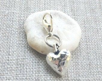 Silver Heart Stitch Marker - Love Stitch Marker - Crochet Marker - Crochet Place Holder - Lobster Claw Marker - Knitting Stitch Marker