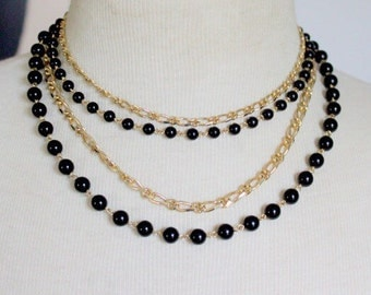 Vintage Statement Necklace  Multistrand  Black Gold Tone 1960s