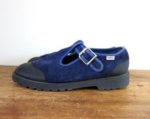 90s Blue Nubuck Mary Janes ESPRIT Suede Sandals Navy Blue Leather Tstrap Shoes Preppy Grunge Girl Basic Shoes Womens Chunky Shoes Size 10