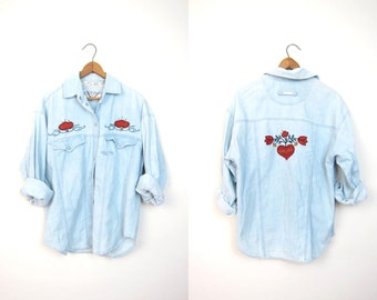 Washed Out 90s Faded Denim Shirt 80s Embroidered Floral Button Up Jean Shirt Chambray Hippie Boho Slouchy Vintage Dells Womens SMALL