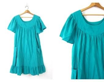 Vintage 1980s COTTON Dress Turquoise Green Oversized Boho Mexican Flutter Dress Festival Tent Dress POCKETS Bohemian Hippie Dress size XL