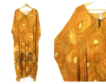 Vintage caftan Loose fit Slouchy Golden Yellow Maxi Dress Vacation Resort wear Lounge beach Tent Dress Earthy Boho One Size