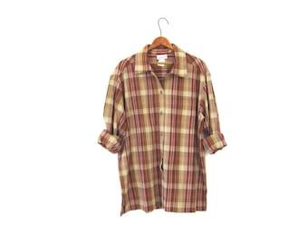 Brown Plaid Button Up Janzen Shirt 90s Oversized Red Yellow Grunge Top Long Sleeve Boho Tomboy Oversize Preppy Hunting Shirt Medium Large