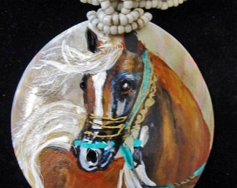 Arabian Mother of Pearl chestnut arabian hand painted necklace