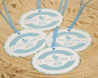 Gift Tags - Baby Shower - Baby Boy - Baby Carriage - Vintage Style Tags - Food Label - Rustic (Set of 4)