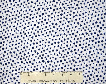 Patriotic Fabric - Blue Stars on White - Windham Basic Brights YARD