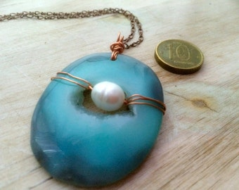 Ocean of Love - Necklace / Agate Druze , Sweet Water AAA Pearl , Copper