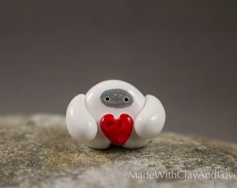 Valentine's Day Gift - Little Abominable Snowman Holding Heart - Hand Sculpted Miniature Polymer Clay Animal